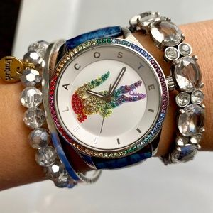 Lacoste Rainbow Bezel Watch Custom Leather Strap